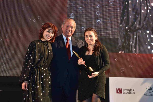 Carla e Mariana Paralta levaram para casa o troféu de Garrafeira do ano. Domingos Soares Franco, da José Maria da Fonseca, entregou o prémio às irmãs.