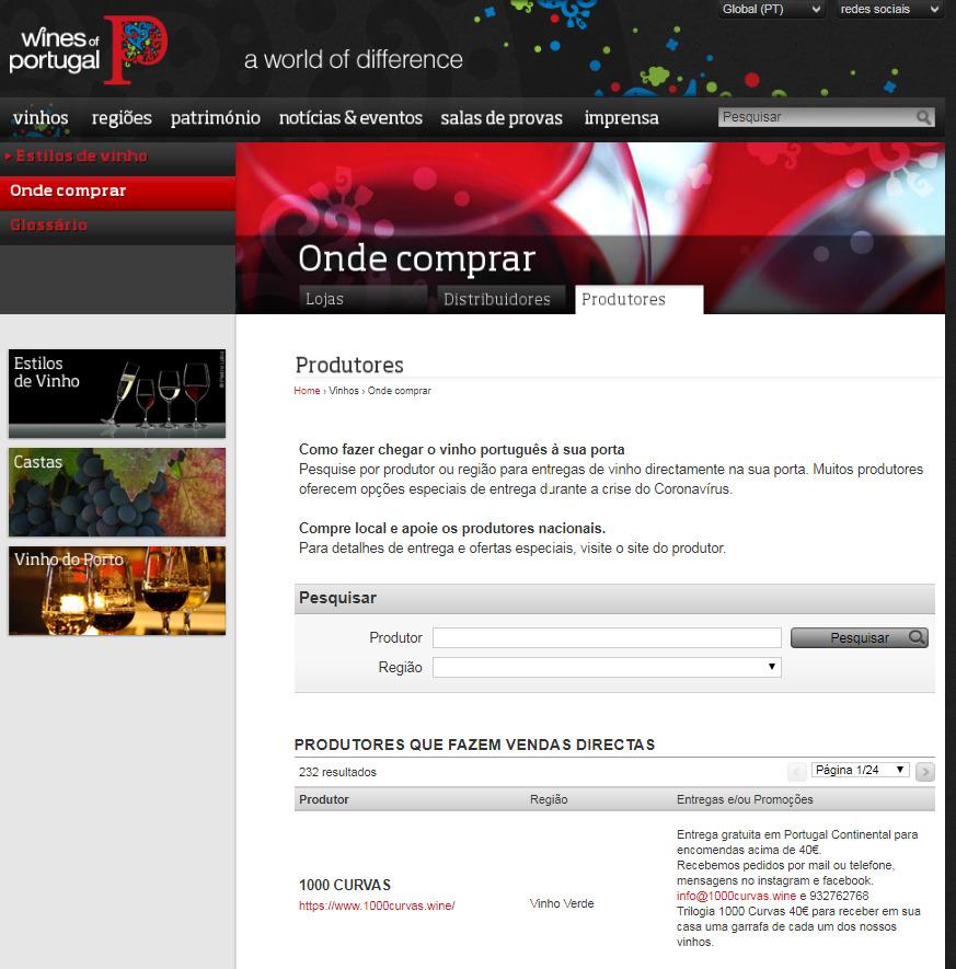 Site da ViniPortugal listando quem vende
